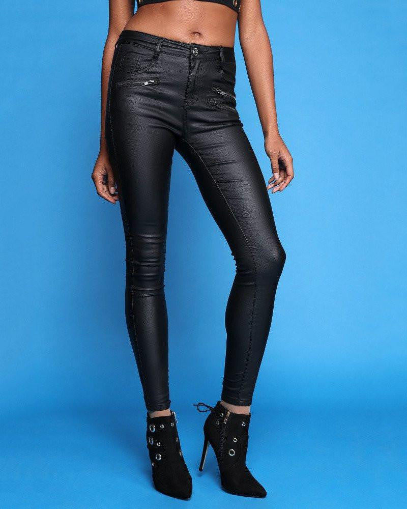 Front 3 Zip Leather Look Skinny Trousers-Jezzelle