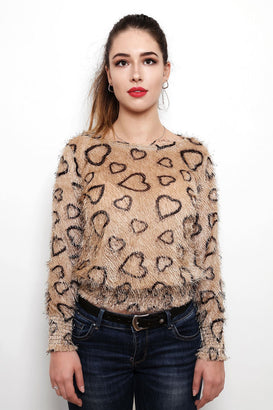 Hearts Print Soft Touch Pullover-Jezzelle