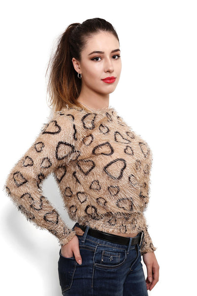 Hearts Print Soft Touch Pullover - Jezzelle