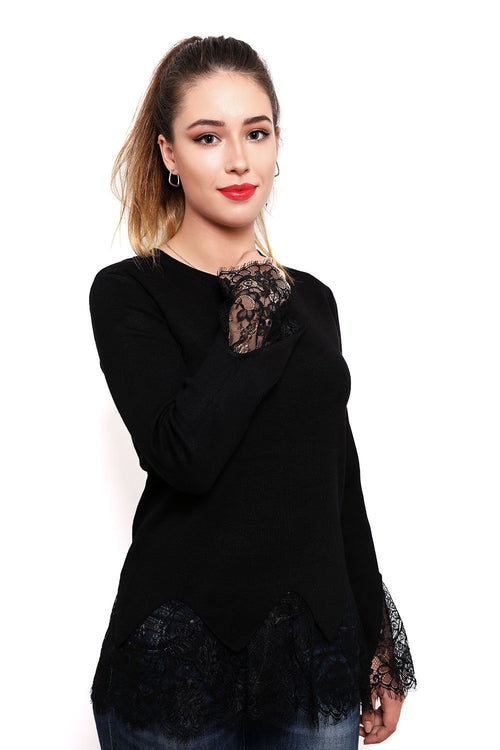 Thin Black Lace Trims Pullover-Jezzelle
