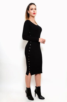 Popper Buttons Sides Knitted Midi Dress-Jezzelle
