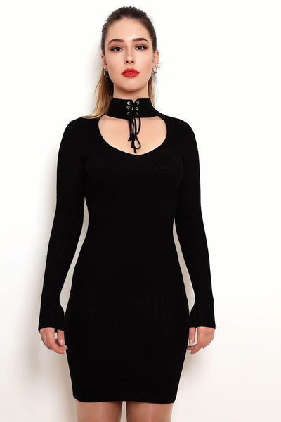 Choker Knitted Dress-Jezzelle