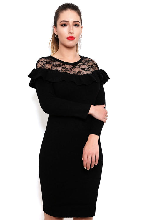 Frills & Lace Knitted Dress-Jezzelle