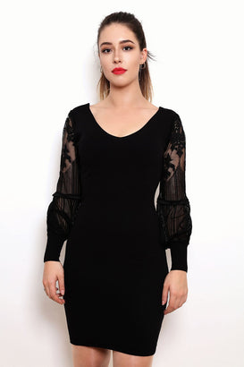 V Neck Lace Sleeves Knitted Dress-Jezzelle