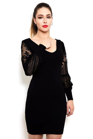 V Neck Lace Sleeves Knitted Dress - Jezzelle