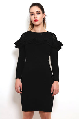 Frills & Mesh Knitted Dress-Jezzelle