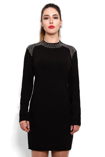 Encrusted Neckline Knitted Jumper Dress - Jezzelle