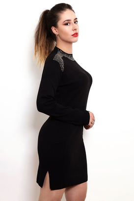 Encrusted Neckline Knitted Jumper Dress-Jezzelle