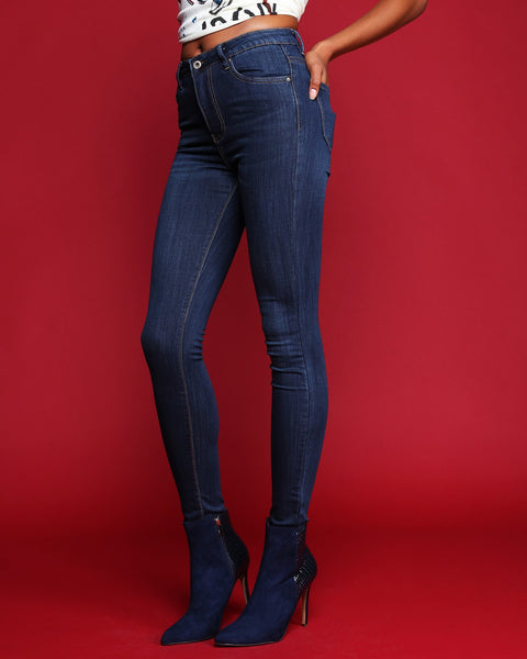 Faded Blue High Waist Skinny Jeans - jezzelle  - 3