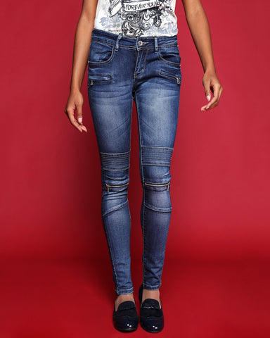 White Stitch & Zip Detail Jeans - jezzelle  - 3
