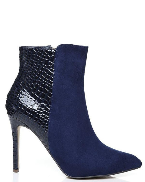 Suedette High Heel Ankle Boots-Jezzelle