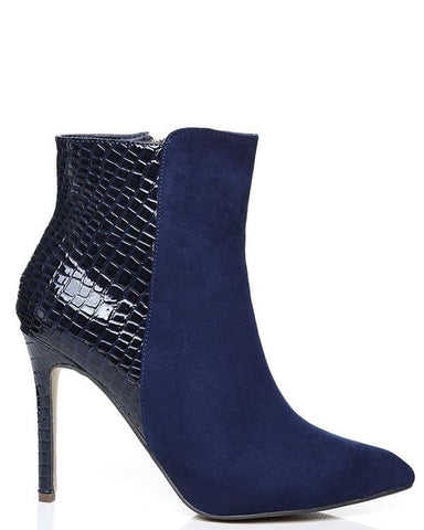 Suedette High Heel Ankle Boots - Jezzelle