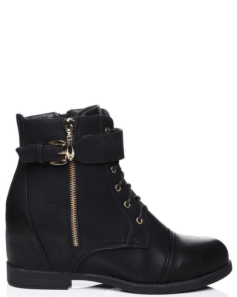 Hidden Wedge Leather Look Boots-Jezzelle