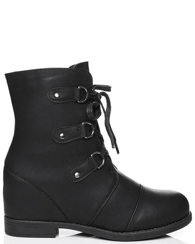 Eyelets Lace-up Wedge Boots - Jezzelle
