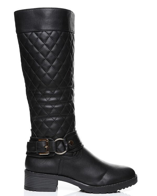 Quilted Faux Leather Knee Boots-Jezzelle