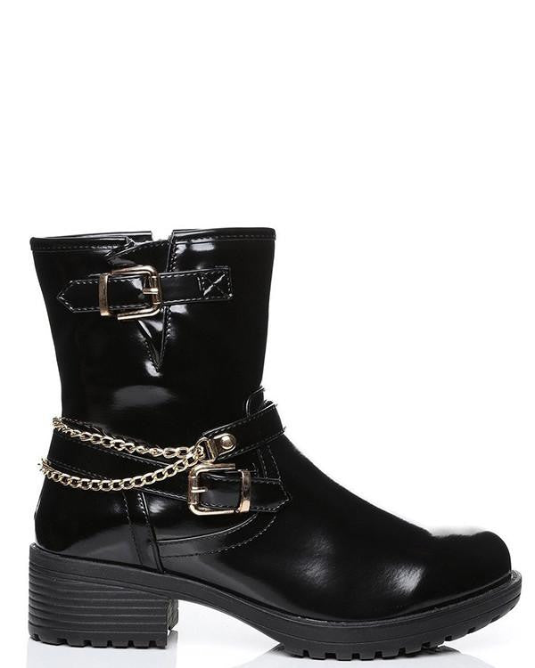 Gold Chain Detail High Shine Boots-Jezzelle
