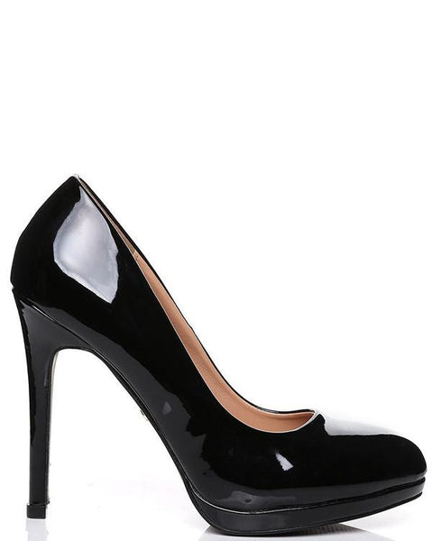 Patent PVC Rounded Toe Shoes - Jezzelle