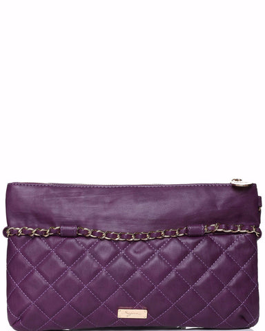 Quilted PU Chain Trim Purple Clutch - Jezzelle