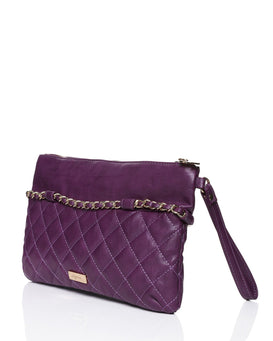 Quilted PU Chain Trim Purple Clutch-Jezzelle
