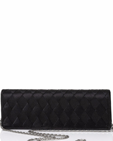Plaited Satin Black Evening Clutch-Jezzelle