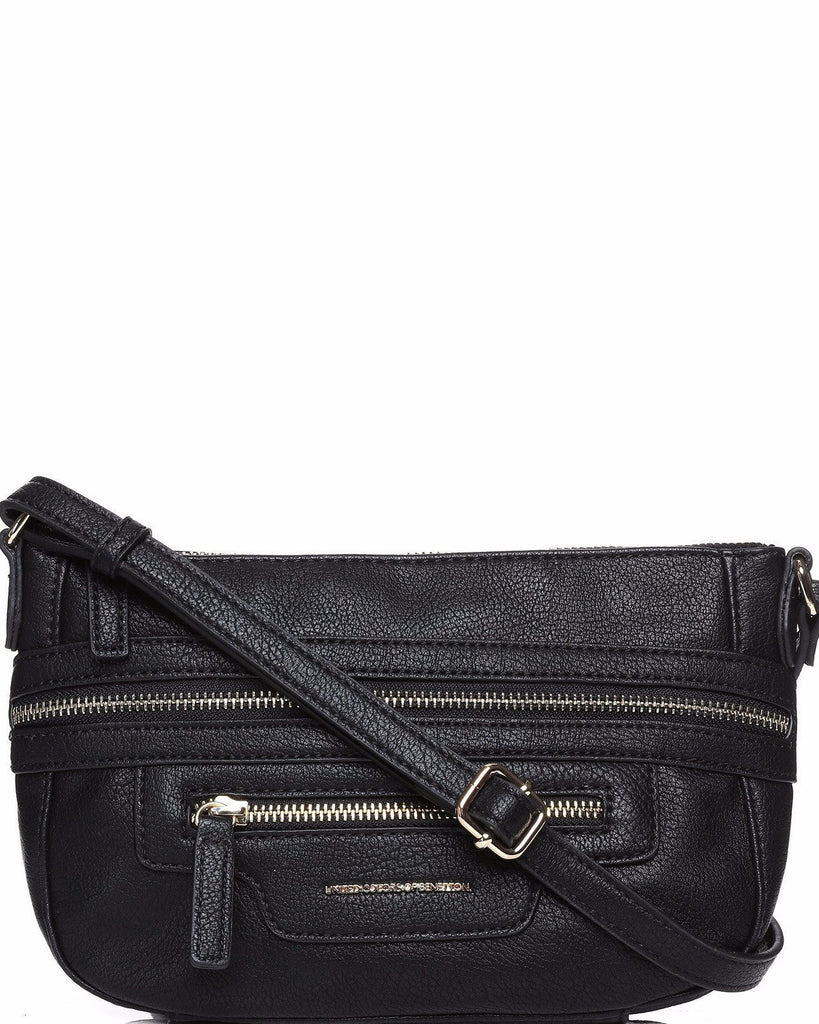 Zip Trim Black Crossbody Bag-Jezzelle
