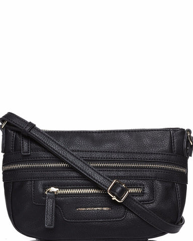 Zip Trim Black Crossbody Bag - Jezzelle