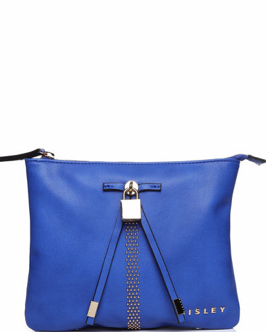 Padlock Detail Blue Crossbody Bag-Jezzelle