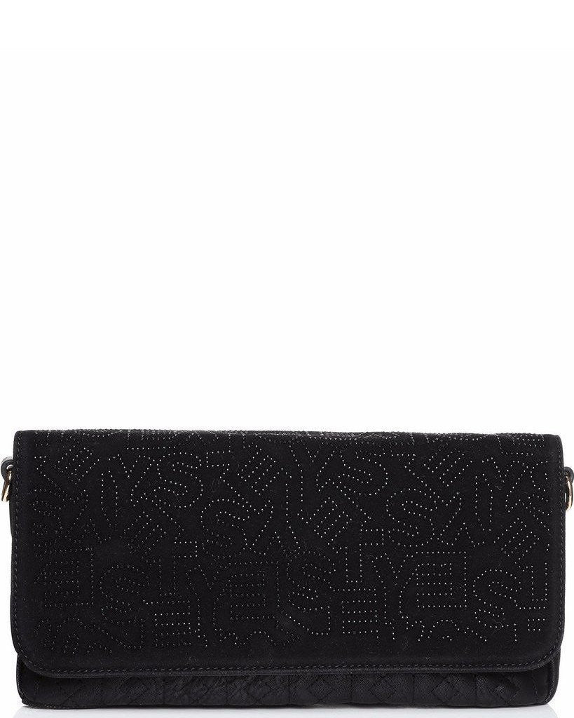 Studded Monogram Velour Black clutch bag-Jezzelle