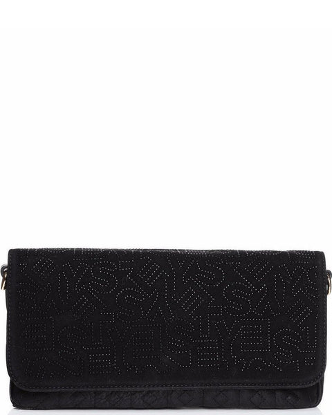 Studded Monogram Velour Black clutch bag - Jezzelle