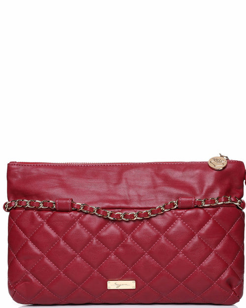 Quilted PU Chain Trim Red Clutch-Jezzelle