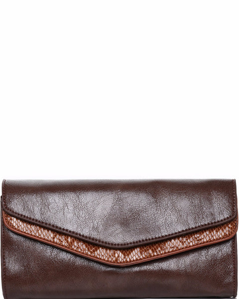 Faux Leather Envelope Clutch - Jezzelle