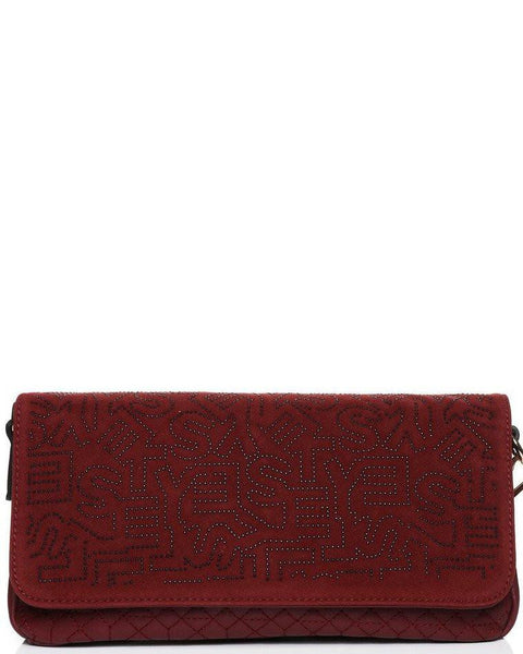 Studded Monogram Velour Burgundy clutch bag - Jezzelle