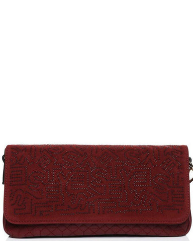 Studded Monogram Velour Burgundy clutch bag-Jezzelle