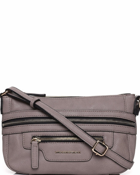 Zip Trim Taupe Crossbody Bag-Jezzelle