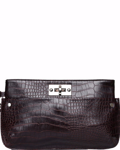 Crocodile Skin Effect Clutch - Jezzelle