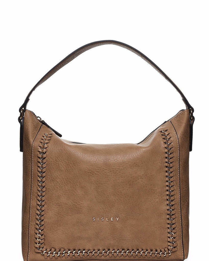 Chain trim Faux leather shoulder bag-Jezzelle