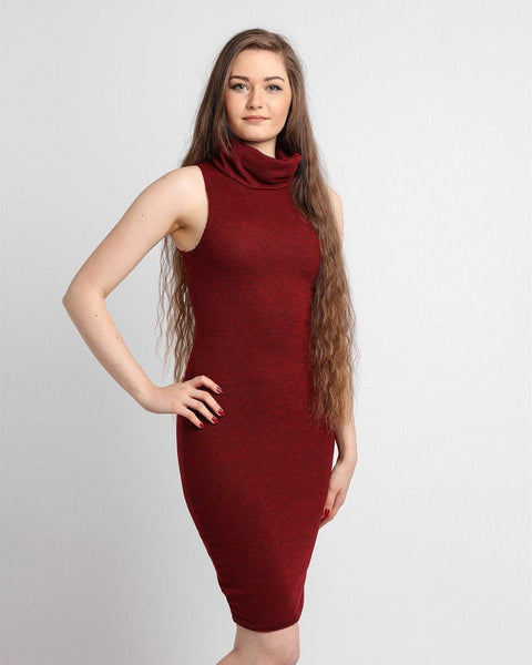 Sleeveless Turtle Neck Midi Bodycon Dress - Jezzelle