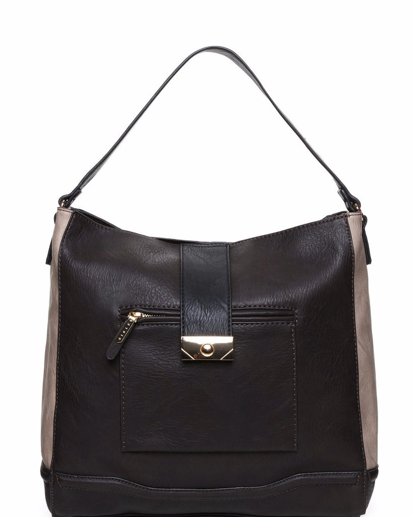 Contrast Panel Shopper Bag-Jezzelle
