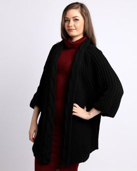 Cable Knit Open Front Black Cardigan - Jezzelle