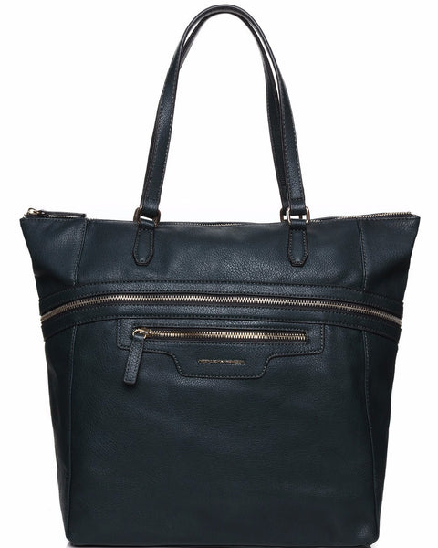 ZIP DETAIL LARGE DARK GREEN SHOPPER BAG - Jezzelle