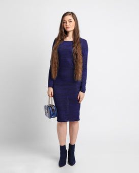 Long Sleeve Knitted Midi Dress - jezzelle  - 2