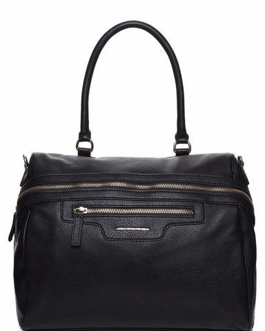 Side Front Zip Black Bowler Bag - Jezzelle