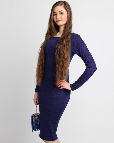 Long Sleeve Knitted Midi Dress - Jezzelle