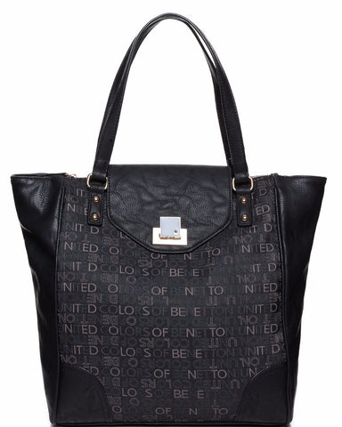 Monochrome Monogram Print Shopper Bag - Jezzelle