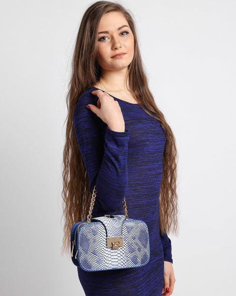 Python Skin Effect Blue Shoulder Bag - jezzelle  - 7