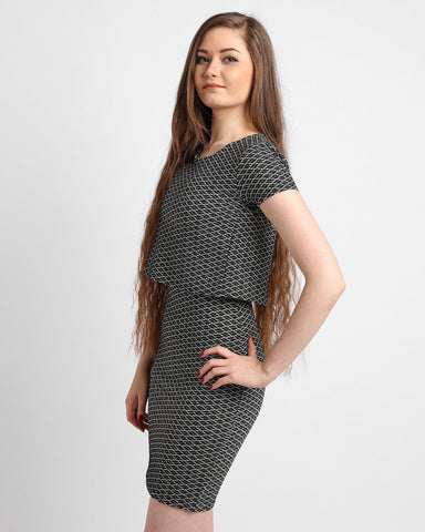 Jacquard Fabric 2 Layer Dress-Jezzelle