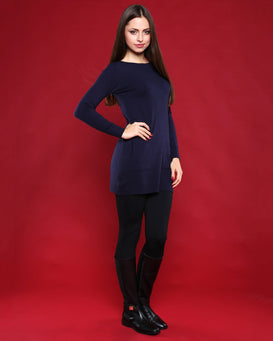 Boat Neck Navy Blue Knitted Jumper Dress - Jezzelle