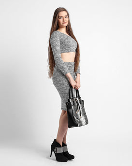 Grey Knitted Crop Top Midi Skirt Set-Jezzelle