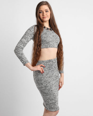 Grey Knitted Crop Top Midi Skirt Set - Jezzelle