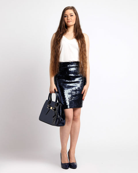 Navy Sequins Pencil Skirt-Jezzelle